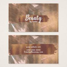 Peach & Copper Bronze Chic Modern Brush Stroke Business Card  $30.85  by printabledigidesigns  - cyo diy customize personalize unique