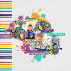 Digital Scrapbook Page by Keley | Sunshine & Rainbows by Bella Gypsy