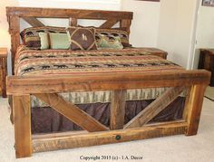 Timber Trestle Bed Rustic Bed Reclaimed And Weathered by IADECOR