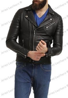 New Men's Genuine Lambskin Leather Jacket Slim fit Biker Motorcycle jacket NY18 #AriesLeathers #Motorcycle