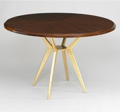 Axel Round Dining Table - mid century style with gold leaf iron base. Dwell studio awesome-ness