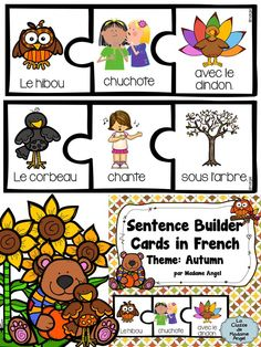 Sentence building cards with a Fall theme! These puzzle cards are great for early writers. Mix and match the pieces to make a variety of fun and sometimes silly sentences! French Teaching Resources, Teaching Activities, Teaching French, Teaching English, Classroom Resources, Teaching Spanish, Teaching Ideas, Silly Sentences, Sentence Building