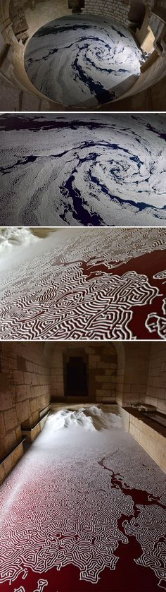 "Motoi Yamamoto (previously here and here) meticulously sculpts large scale installations formed from salt, tiny lines delicately arranged on the floor of galleries and museums. In his latest exhibition titled ""Univer'sel,"" Yamamoto has created two pieces in a 13th-century medieval castle in Aigues-Mortes, located in the south of France."