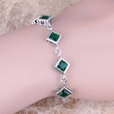 Romantic Green Emerald 925 Sterling Silver Overlay Link Chain Bracelet 6.5 - 7.5 inch Free Shipping & Gift Bag S0836