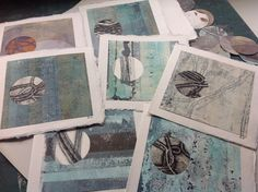 Making some greeting cards, recycled sections of mono prints and old dry points, a circle hole punch and khaki paper