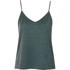 TopShop Metallic Cami (220 ARS) ❤ liked on Polyvore featuring tops, tanks, shirts, topshop, green, topshop cami, strappy cami, green camisole and green cami