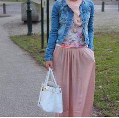 rok chifon dipadu cardi jeans cocok untuk hangout #casual #cute