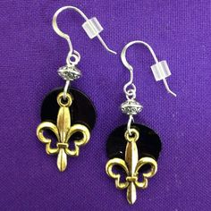 Black & Gold Shell Earrings with Gold Fleur De by AnnPedenJewelry