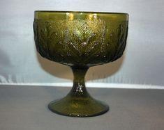 Vintage FTD Green Glass Pedestal Dish With Embossed Oak Leaf Green Glass Pedestal Bowl Candy Dish Flower Vase Trinket Dish by KattsCurioCabinet on Etsy