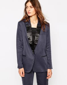 Selected Storm Blazer With Black Lapel