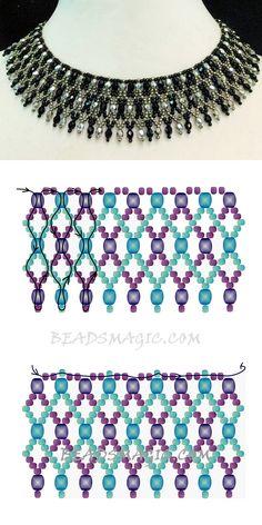 bead weaving patterns for bracelets Diy Necklace Patterns, Beaded Jewelry Patterns, Necklace Designs, Necklace Ideas, Seed Bead Jewelry, Bead Jewellery, Seed Beads, Beading Jewelry, Jewelry Crafts