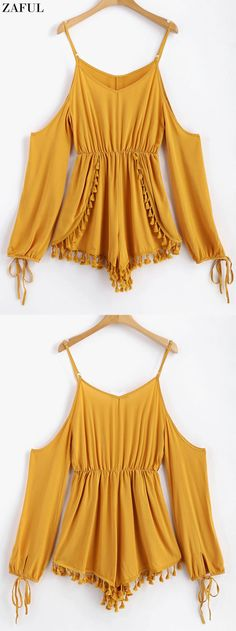 Layered Tassels Cold Shoulder Romper. So soft and cozy long sleeve romper features a fierce cutout detailing on the shoulder with adjustable spaghetti straps and the overlap design on the bottom with some tasselled accents on the hem, which is ended with the cutely tied cuffs, elastic waist and a subtle wide-legged silhouette. Just pair it with some comfortable mules for going out. #Zaful #Romper #Outfits