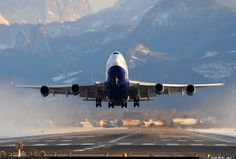 Transaero Airlines B747-446  departs beautiful Salzburg Austria  Photographer Martin Nimmervoll