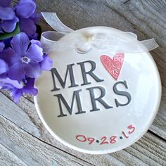 Mr & Mrs Ring Pillow - Ring Bearer Bowl -  Ring Pillow Alternative - Ring Pillow - Ring Bowl - Ring Dish - Wedding Ring Dish - Ring Warming by SayYourPiece on Etsy https://www.etsy.com/listing/202911412/mr-mrs-ring-pillow-ring-bearer-bowl-ring