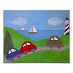 Race To The Regatta - Cars & Boat Boys Kids Art Poster