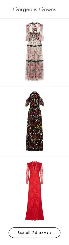 """""""Gorgeous Gowns"""" by harrods ❤ liked on Polyvore featuring dresses, gowns, lace evening dresses, lace fit-and-flare dresses, floral gown, floral evening gown, floral print evening gown, flower print dress, floral embroidered gown and cut-out shoulder dresses"""
