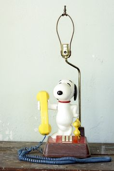 1976 Snoopy and Woodstock Collectible Phone Lamp by msjeannieology, $70.00