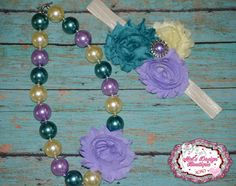 Chunky necklace set , necklace and headband set , shabby flower headband , girls necklace, girls headband on Etsy, $25.50