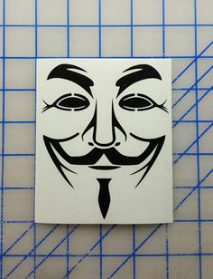 V for Vendetta  Guy Fawkes Mask Decal  16 colors  by RidinNerdy