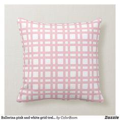 Ballerina pink and white grid trellis throw pillow Ballerina Pink, Pink Cushions, Soft Light, Decorative Cushions, Custom Pillows, Party Hats, Trellis, Grid, Throw Pillows