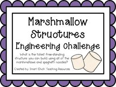 Engineering Challenge: What is the tallest structure you can construct using all of the marshmallows and spaghetti noodles? This packet contains . Stem Learning, Project Based Learning, Stem Challenges, Engineering Challenges, Steam Activities, Science Activities, Stem Science, Physical Science, Science Fair