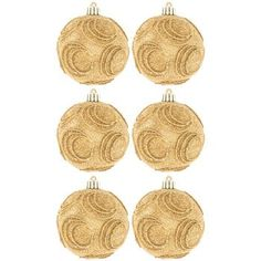 Round Gold Glitter Swirl Ornaments Christmas Tree Decorations 6 Ct >>> Read more  at the image link.