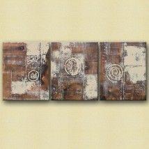 Drieluik abstract bruin / wit - Schilderij