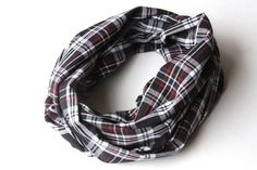 I like this! Unisex Plaid Scarf  Black White and Red by practicalimpact on Etsy, $20.00