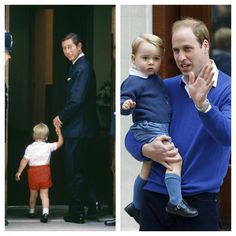 Prince William at the Lindo Wing-- with his father in 1984 & his son in 2015