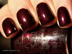 Black Cherry Chutney, OPI gel with just a bit of shimmer, festive. Will have to try this