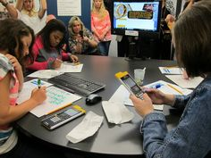 """Sarasota County middle school students work on math problems in a """"classroom of tomorrow."""""""