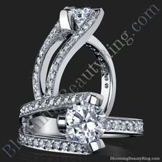 3 Sided Tension Set Split Shank Pave Diamond Engagement Ring - bbr274