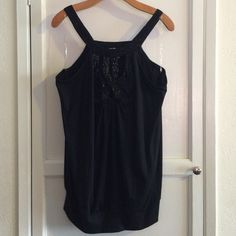 EUC Lane Bryant Tank w/ Embellished neckline 18/20 Banded bottom tank with black beaded embellished neckline detail. Perfect for Summer! Lane Bryant Tops Tank Tops