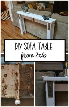 Easy to build and totally customizable to your space, this DIY sofa table from was a fun project! I& got the cut list and instructions here. Pallet Furniture, Furniture Projects, Furniture Plans, Home Furniture, Rustic Furniture, Furniture Online, Metal Furniture, Modern Furniture, Building Furniture