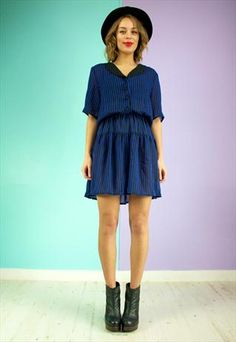 Vintage+80's+dress+in+Sheer+Chiffon+Black+and+Navy+Stripe+