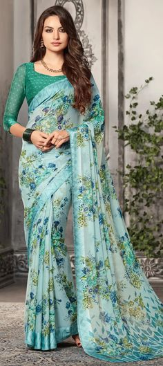094e748974 Faux Chiffon Casual Saree in Blue with Printed work