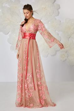 Ethereal-looking kimono dress with a dainty cherry-blossom design fading away towards the waistline in thread-embroidery and raised macramé detailing. Pink Wedding Dresses, Bridesmaid Dresses, Prom Dresses, Bridesmaids, Dressy Dresses, Stylish Dresses, Kimono Fashion, Fashion Dresses, Kebaya Modern Dress