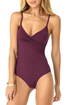 Shoshanna Womens Tropical Eyelet Cinched One Piece Swimsuit