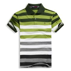Men Polo T-Shirt Tommy Hilfiger Fashion Strip. Printed Polo Shirts, Striped Polo Shirt, Polo T Shirts, Collar Shirts, Boys Shirts, Mens Casual T Shirts, Stylish Shirts, Mens Tees, Top T Shirt Brands