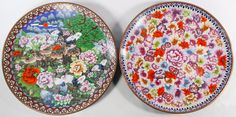 Lot 426: Asian Cloisonne Chargers; c.2001, two unmarked items including a floral plate and a plate with birds and deer