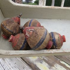 Red wood and blue vintage spinning tops from by VintageVoltaire, $25.00
