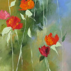 Acrylic Abstract Floral Painting Giclee Print Made To Order Pink Red Orange Roses Impressionist Fine Art Print Wall Decor by Linda Monfort