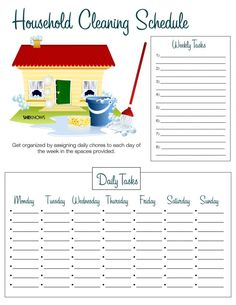 Household cleaning list -I have chore lists for each child but this keeps all the chore lists in one place--so I can check