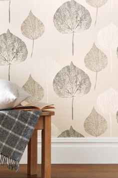 Buy Paste The Wall Tranquil Leaf Wallpaper from the Next UK online shop Hallway Wallpaper, Diy Wallpaper, Striped Wallpaper, Butterfly Wallpaper, Wallpaper Samples, Wallpaper Lounge, Wallpaper Designs, Wallpaper Please, Stunning Wallpapers