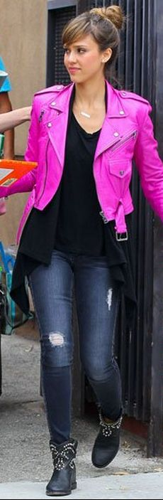 Who made  Jessica Alba's pink leather jacket and black studded boots that she wore in Los Angeles on June 7, 2013?