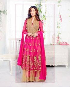 Pink and beige anarkali suit with golden yoke   1. Pink and beige net embroidered anarkali suit2. Comes with matching bottom and dupatta3. Can be stitched upto bust size 42 inches