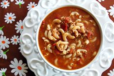 Classic Beef & Tomato Macaroni Soup, there's a reason that this tasty soup is a family favorite!