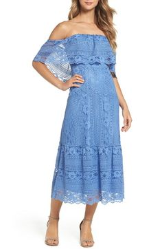 Katie Lace Midi Dress | Nordstrom | blue | off the shoulder | summer | wedding style