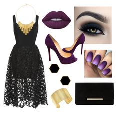 """""""Black Christmas Party #6"""" by bela-horan-hemmings on Polyvore featuring Oscar de la Renta, Lime Crime, Too Faced Cosmetics, Christian Louboutin, Dune, Janna Conner Designs, BERRICLE and Theo Fennell"""