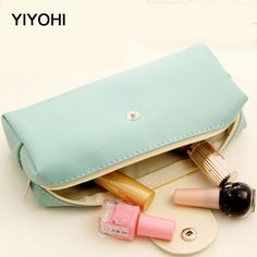 YIYOHI Cute Candy Colors Women Cosmetic Bag Beauty Zipper Travel Case Make Up Bag Letter Makeup Pouch Toiletry Organizer Holders #Affiliate